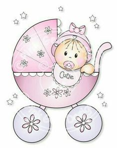 Digital Digi Baby Girl in Pram Stamp by PinkGemDesigns on Etsy Baby Painting, Baby Shawer, Baby Cookies, Digi Stamps, Copics, Baby Cards, Baby Quilts, Etsy, Illustration