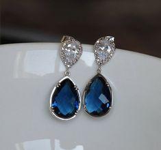 silver sapphire earring  drop montana earring  blue by arbjewelry, $32.00