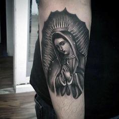 100 Religious Tattoos For Men - Sacred Design Ideas Religious Tattoos For Men, Religious Tattoo Sleeves, Catholic Tattoos, Upper Arm Tattoos, Arm Tattoos For Guys, Future Tattoos, Virgen Mary Tattoo, Maria Tattoo, Mother Mary Tattoos