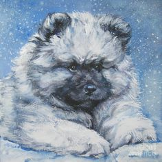 keeshond painting keeshond puppy in the snow by lee ann shepard