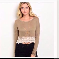 Cute Crop Top Mocha Cream Long sleeve crop top features a rounded neckline and contrast colored scalloped Crochet Trim. 98% Rayon 2%. iConcepta Boutique Tops Crop Tops