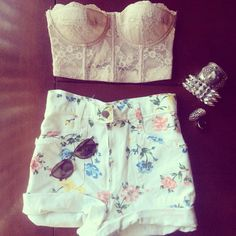 High waisted shorts are so nice. T-shirt roughly tucked in? Awesome.