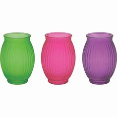 2.5 in. Dia. x 5.5 in. H. Frosted Ribbed Plantations Vase Pink/Green/Purple
