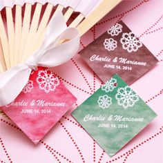 Favors and Flowers' exclusive design Doily Diamond Shaped Personalized Hang Tags are great finishing touches to favor boxes, bottles or tins.