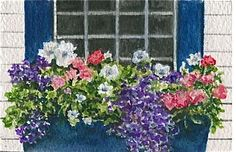 """Spring Window Box"" - My aunt asked me to paint a series of paintings for her of four seasons of window boxes for a frame she had with four windows. These are tiny 4x6 inch paintings, so the flowers were painted on a very small scale. I like the bright blue shutters and window box on this house."