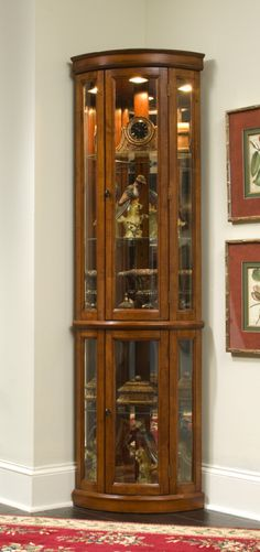Howard Miller Legacy Oak Dominic Corner Curio Cabinet | Decorating With  Precious Moments | Pinterest | Corner, Curio Cabinets And Cabinets