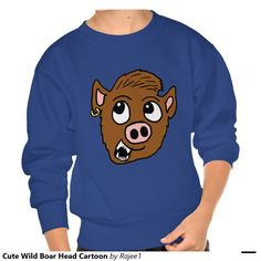 Cute Wild Boar Head Cartoon Pullover Sweatshirts
