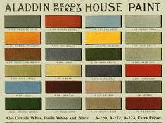 "What comes to mind when you hear the phrase ""historic paint color""? Do you envision a rather limited palette of muted grays, blues, and greens? Exterior Color Schemes, Paint Color Schemes, Exterior Paint Colors, Exterior House Colors, Paint Colors For Home, Vintage Color Schemes, Vintage Colour Palette, Vintage Colors, Bungalow Exterior"