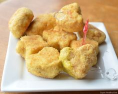 chicken nuggets from ground chicken - how about blending in some veggies!!  zucchini would keep up the moisture.