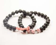 Sexual Abuse and Rape Victim Emotional Healing - Grieving - Rhodochrosite & Lava bead - Essential Oil diffuser by GemsdeVine on Etsy
