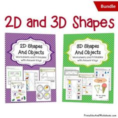 and Shapes Worksheets Bundle - Printables & Worksheets 3d Shapes Worksheets, Kindergarten Math Worksheets, Printable Worksheets, Printables, Geometric Shapes Drawing, 2d And 3d Shapes, Christmas Mini Albums, Triangular Prism, Art Prints For Home