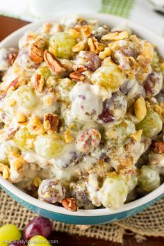 This is my favorite no-bake Pecan Crunch Grape Salad it's a delicious fall dish. Recipe by deliciouslysprinkled.com
