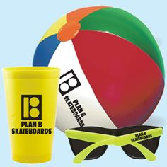 """3 piece fun kit contains 22 oz. US made stadium cup (Red, Blue, Black, White, Green, Orange, Yellow & Clear), 9"""" multicolor beach ball & a pair of sunglasses (red, blue, yellow, black, white, green, pink, purple, orange) packaged in the stadium cup and poly bagged. 1 color imprint per piece included."""