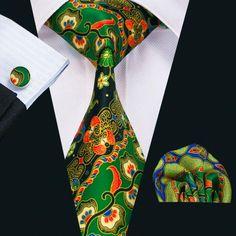 New Arrival Fashion Silk Ties For Men High Quality Design Necktie Handkerchief Cufflinks Set For Wedding Party