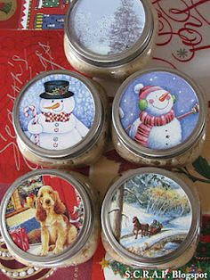 Excellent way to re purpose old Christmas Cards! This is a very special touch to add to Christmas gifts! ~ Scraps Creatively Reused and Recycled Art Projects: Old Christmas Cards Make New Gift Tags and Canning Jar Toppers Old Christmas, All Things Christmas, Christmas Holidays, Christmas Decorations, Recycled Christmas Cards, Christmas Ideas, Christmas Collage, Christmas Candles, Christmas Birthday