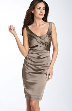 Suzi Chin for Maggy Boutique Ruched Stretch Satin Sheath Dress available at #Nordstrom