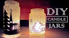 How to Make Candle Holders Recycling Old Jars | DIY Christmas Decorations  This video showed me ideas I never would have thought of - a bunch of toothpicks banded together and dipped in paint and then onto the jar made a very believable snow effect! and  more after that - great video.