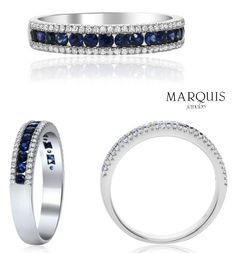 A twist on the traditional or band. Shop the look today online and in store at Marquis Jewelers. Sapphire And Diamond Band, Blue Sapphire, White Gold Diamonds, Round Diamonds, Buy Gold And Silver, Marquis, Diamond Bracelets, Traditional Wedding, Jewelry Stores
