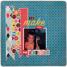 come back and look - easy scrapbook pages like: Make a foundation with three patterned-paper pennants