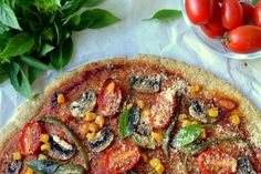 Reinventing pizza: vegan, gf, nutritious, flourless, yummy and guilt free! Gluten Free Vegan Pizza, Gluten Free Recipes, Clean Recipes, Cooking Recipes, Healthy Recipes, Tomato Basil Sauce, Vegan Parmesan, English Food, Other Recipes