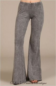 Chatoyant Mineral Wash Bell Bottom Soft Pants - Taupe Gray - Debra's Passion Boutique - 1