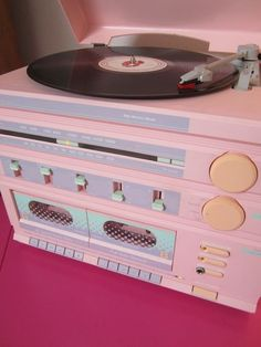 80s Sears Pastel Pink Lavender Stereo ❤️ Turntable Tuner Cassette Record Player like Sharp