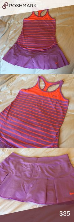 Nike tennis skirt and top Medium Cute Nike tennis outfit. Both pieces are size medium and are in great condition. I've worn, but not much. No stains or wear shown! Purple and bright neon orange! Nike Skirts Skirt Sets