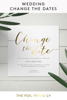 Wedding Postponement Cards by The Foil Invite Company Foil Wedding Invitations, Wedding Invitation Design, Wedding Stationery, Love Is Patient, Big Day, Weddingideas, Invite, Color Schemes, Our Wedding