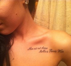 """My latest tattoo... """"There's no easy way from the earth to the stars."""" in Latin. <3"""