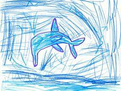 Süßes Delfin-Bild von meiner kleinen Tochter :-)  Jumping dolphin-picture by my little daughter :-)