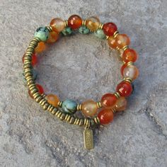 Change and Stability, faceted Carnelian and African turquoise 27 bead mala wrap…