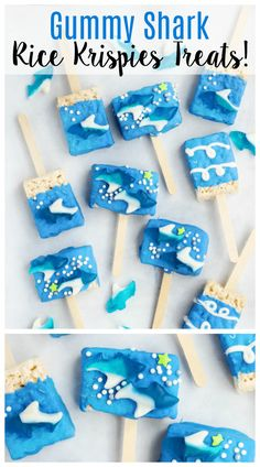 Gummy Shark Rice Krispies treats are the perfect snack for Shark Week! They are … Gummy Shark Rice Krispies treats are the perfect snack for Shark Week! They are easy for kids to make and customize with melting chocolate, gummy sharks and sprinkles! Shark Cupcakes, Shark Cookies, Shark Cake, Shark Week Drinks, Shark Snacks, Beach Theme Desserts, Beach Dessert, Easy Snacks For Kids, Cute Snacks