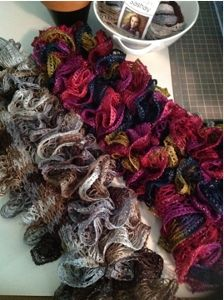Sashay Yarn Scarves--a fun and fashionable knit scarf pattern for ladies of all ages!