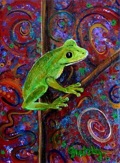 """Tree Frog"" by Paintings by gretzky, Miami, FL // Green Tree Frog on abstract background // Imagekind.com -- Buy stunning, museum-quality fine art prints, framed prints, and canvas prints directly from independent working artists and photographers."