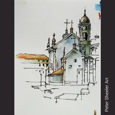 Have a few unfinished location sketches in my Porto Portugal sketch books. Wish I had completed this one. I was standing in the courtyard of the Porto Cathedral, painting a church on the other side of the old town area. Not sure what landmark this was. Pen And Watercolor, Watercolor Landscape, Watercolor Paintings, Travel Sketchbook, Watercolor Architecture, Ink In Water, Sketches Tutorial, City Landscape, Urban Sketchers