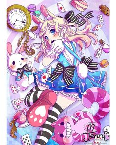 Bunny (Alice) in wonderland - down the rabbit hole 🐰💖🍄 . Cute Animal Drawings, Kawaii Drawings, Disney Drawings, Cute Drawings, Kawaii Doodles, Kawaii Art, Alice Manga, Alice In Wonderland Fanart, Kawaii Illustration