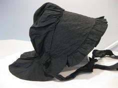Civil War Era Antique Prairie Field Bonnet / Women's Black Victorian Mourning Bonnet