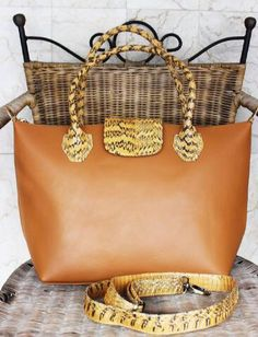 Cowskin leather bag with cobra leather skin handle. Ready stock $170. Comment below for details. Check out other style at Balinesian ethnic purse Facebook