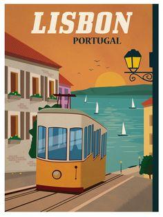 'Portugal, Lisbon - Retro travel print ⛔ HQ-quality' Poster by Alex ⛵ Air Vintage Maps, Vintage Travel Posters, Vintage Postcards, Collage Vintage, City Poster, A4 Poster, Photo Vintage, Venice Travel, Travel Illustration