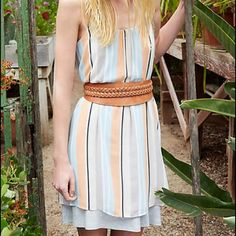 """✨ Anthropologie stripped dress -Rayon/spandex jersey with woven polyester overlay -swing silhouette -pullover styling -falls 37"""" from shoulder -perfect for that spring/summer day or on your next vacation! -dress it up with boots, sandals, or wedges! -NOTE: belt is NOT included  -brand new, never worn, tags attached, excellent condition Anthropologie Dresses Midi"""