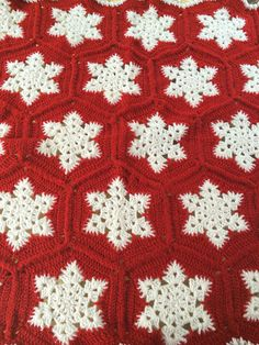 Crotchet Snowflake Blanket/ Snowflake Afghan/Christmas Crochet Blanket/Winter Crochet Blanket/Red Crochet Afghan/Blankets And Throws/ by familycraftstore on Etsy