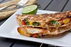 Chicken, Caramelized Onion and Mango Quesadillas from www.cookingontheside.com