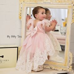 Mirror, mirror on the wall... who's the prettiest of them all   Allie Gown   Shop  ittybittytoes.comittybittytoes Little Girl Gowns, Gowns For Girls, Frocks For Girls, Little Girl Dresses, Flower Girl Dresses, Baby Girl Birthday Dress, Birthday Dresses, Outfits Niños, Kids Outfits