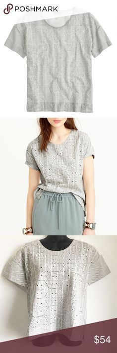 "J Crew Grey Eyelet Short Sleeve T-Shirt Blouse • Striped Print • Eyelet ""Dressy"" Top • Short Sleeve  Size: Small Color: Grey & White Condition: New With Tags Material: 57% Cotton 43% Polyester Back: 100% Cotton *Stock photo shown for fit and style*  Measurements Length: 22 inches Bust: 40 inches All measurements are approximate.  No stains, rips, tears 