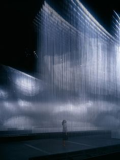 Gas effect w hanging transparent fibre & lighting Aoki Jun- Fiber Jüdisches Museum, Instalation Art, Light And Space, Stage Set, Scenic Design, Stage Design, Theatre Design, Design Design, Graphic Design