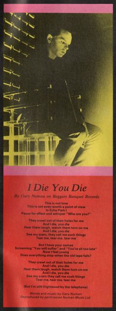 GARY NUMAN, I Die You Die, 1980