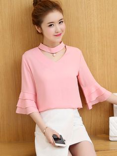 Colorful style you can choose. Choker Solid Color Bell Sleeve Women's Blouse Colorful style you can choose. Dress Neck Designs, Blouse Designs, Gala Design, Dress Sewing Patterns, Classy Dress, Blouse Styles, Colorful Fashion, Dress To Impress, Blouses For Women