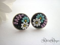 Summer Dream - Handmade Floral Stud Earrings - Polymer Clay and Sterling Silver Earrings - Unique Jewelry - Embroidery Earrings