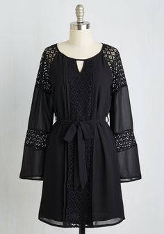 Young, Beguiled, and Free Long Sleeve Dress. Youre filled with wonder and delight in this free-spirited frock! #black #modcloth