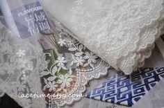 White Lace Trim White Gauze Floral Lace Retro Cotton by lacetime, $4.99